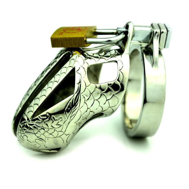 Masculino dispositivo de castidade cinto de castidade caralho gaiola de metal para bloqueio pênis tamanho S CB3000