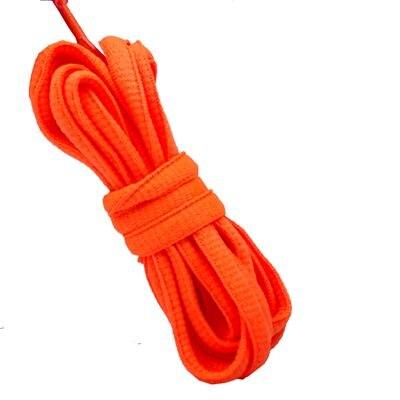 """100 см/3"""" овальные плоские шнурки Шнурки кроссовок 24 цветов для выбора - Цвет: No 8 neon orange"""