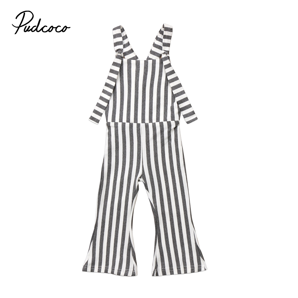 PUDCOCO Brand Kids Baby Girls Striped Brace Pants Overalls Romper Bell Bottom Girl Outfits Clothes 1-5T