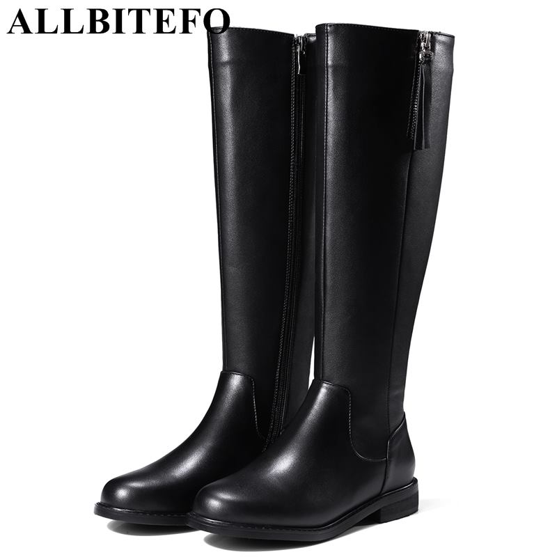 ALLBITEFO size:33-42 genuine leather+pu women high heel shoes thick heel winter snow boots designer boots girsl shoes size33-42