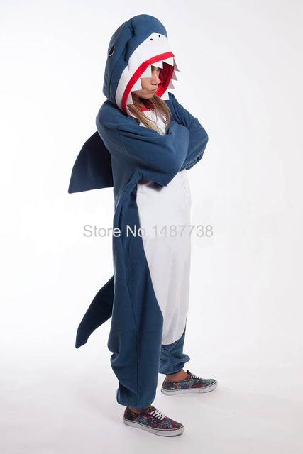decab9d8a2 Kigurumi Adult Onesies Unisex Fleece Animal Shark Pajamas Novelty Sleepwear  Pyjamas Jumpsuit Nightwear Carnival Cosplay Costumes