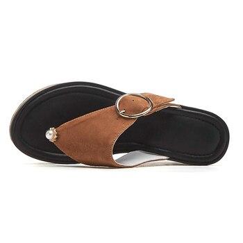 Décorations à Bascule | DORATASIA Nouvelle Mode Tongs En Peau De Mouton Chaussures En Cuir Véritable Pantoufles Femme 2019 Talons Hauts Femmes Chaussures à Semelles Compensées Femme