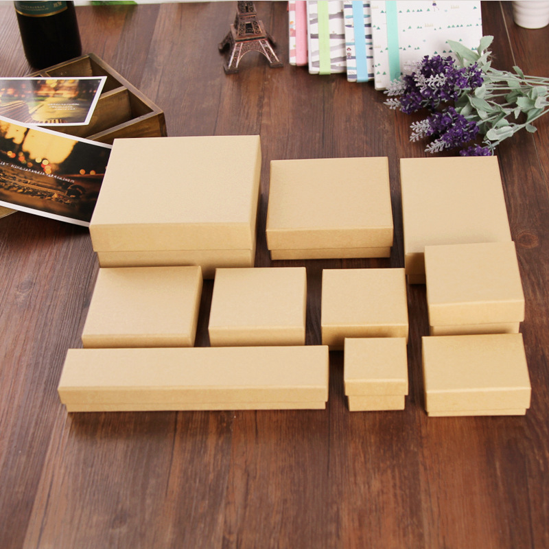 Wholesale Multi Size Spot Kraft Paper Jewelry Packaging&display Box Earring&ring&bracelet Box Wedding Favors And Gifts Boxes