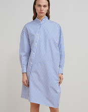 Chic stripe asymmetrical dress Fashion women elegant long sleeves Shirt dress D514