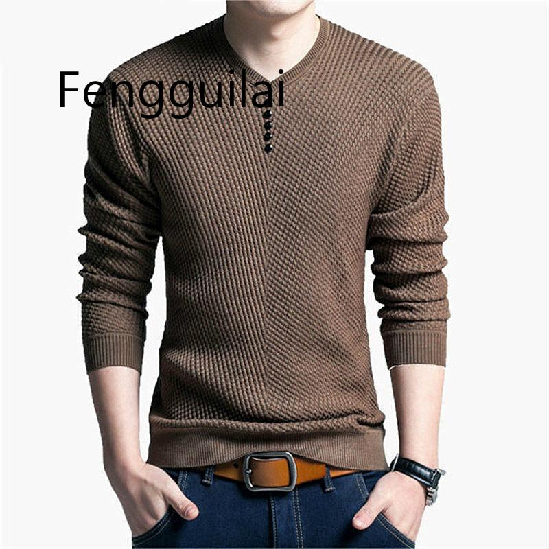 Sweater Men Casual V-Neck Pullover Men Autumn Slim Fit Long Sleeve Shirt Mens Sweaters Knitted Cashmere Wool Pull Homme