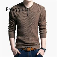 Sweater Men Casual V-Neck Pullover Autumn Slim Fit Long Sleeve Shirt Mens Sweaters Knitted Cashmere Wool Pull Homme
