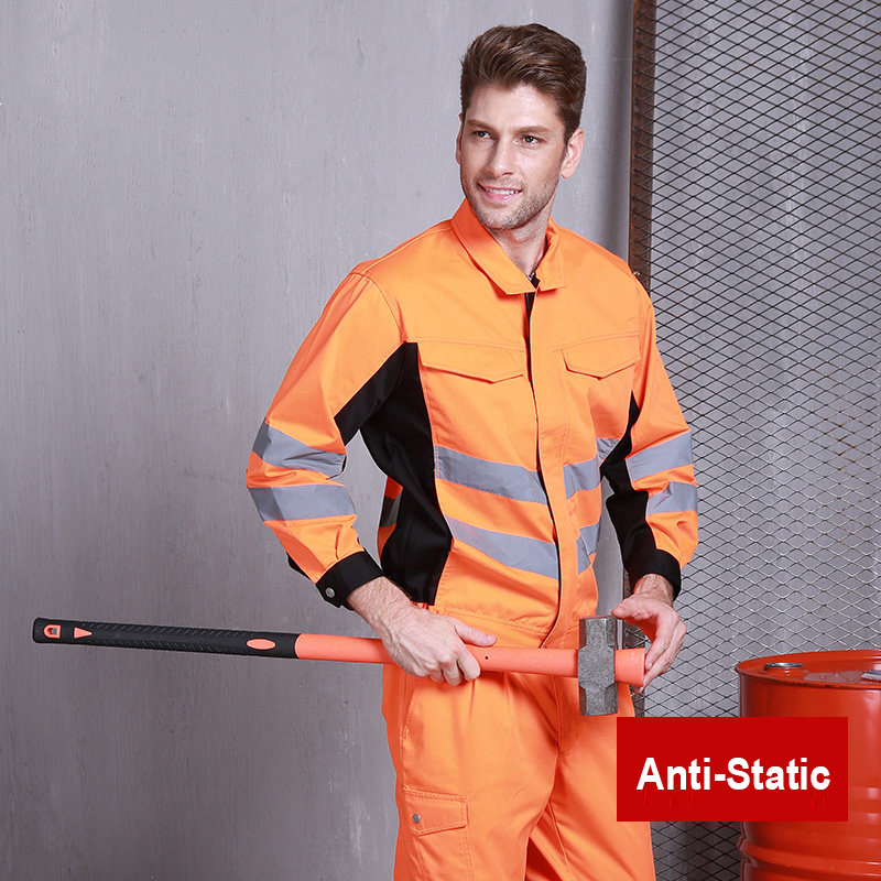 High Visibility Poly Cotton Workwear Suit Work Suit Two Tone Orange Anti Static Work Jacket Work