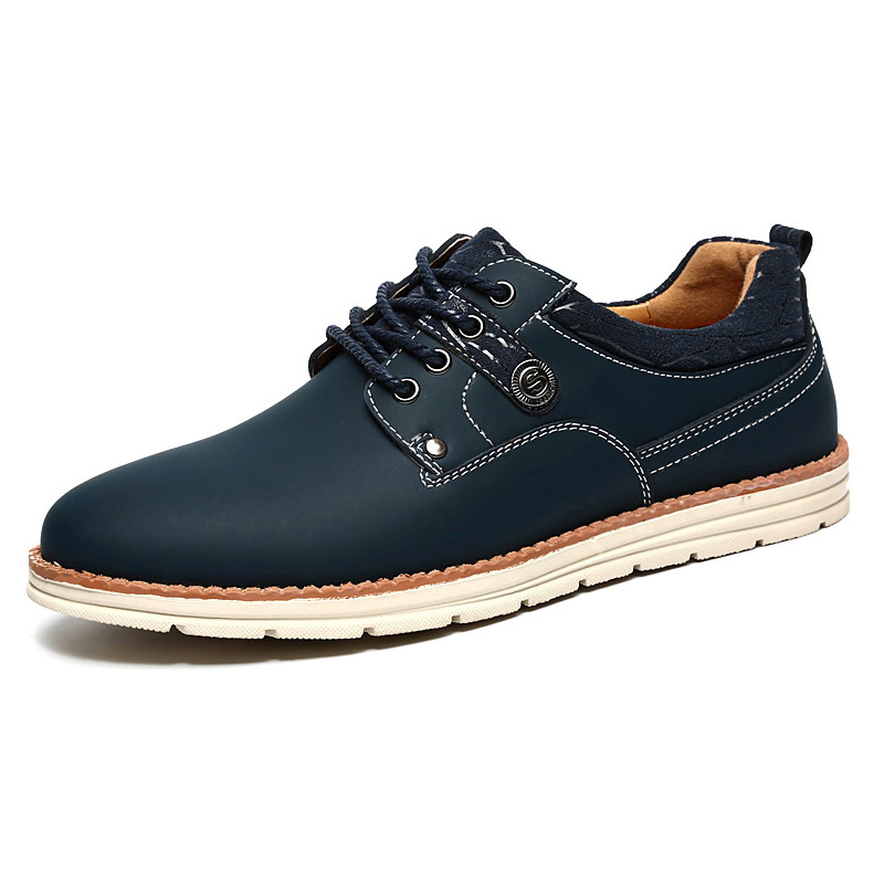 Spring Autumn Men Leather Casual Shoes Male Comfortable Leather Shoes Men Work Shoe Solid Color Lace