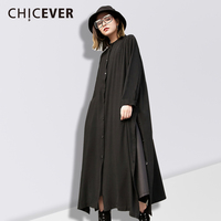 CHICEVER Spring High Split Black Women Dress Shirt Long Sleeve Black Pleated Women S Dresses Of