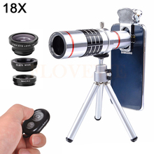8in1 18X Telephoto Zoom Lentes Telescope Fisheye Wide Angle Macro lens For iPhone 6 6s 7 8 Plus Cell Phone Lenses Clips Tripod