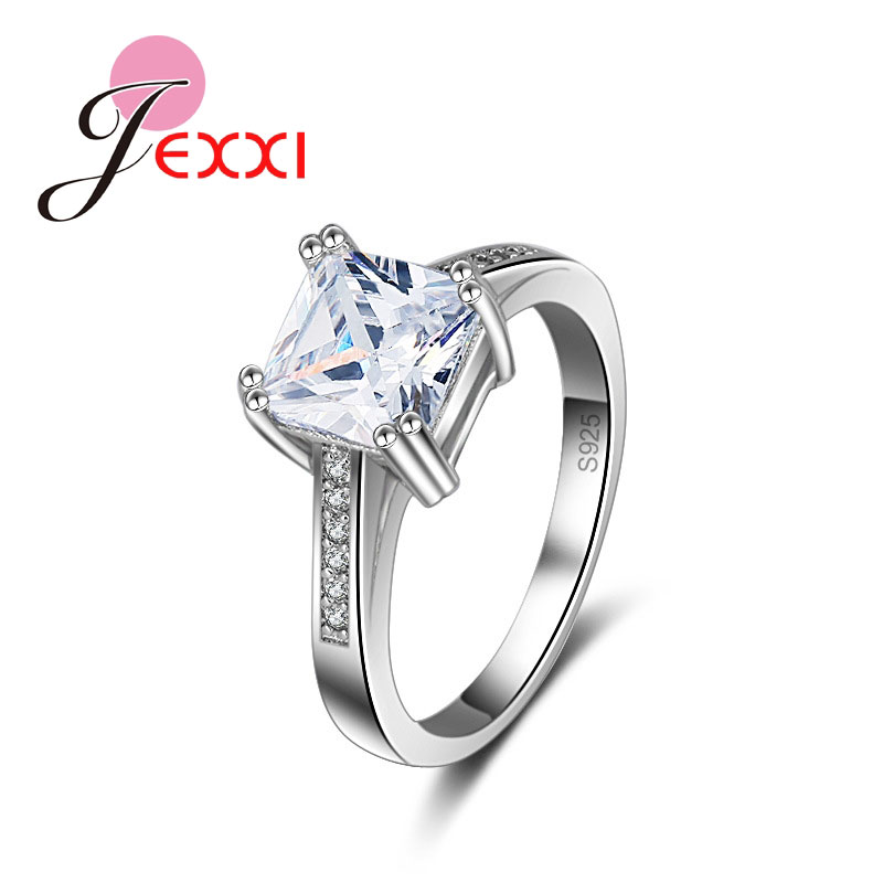 Personality Square CZ Lady Finger Rings 100% 925 Sterling Silver Jewelry For Wedding Engagement Party