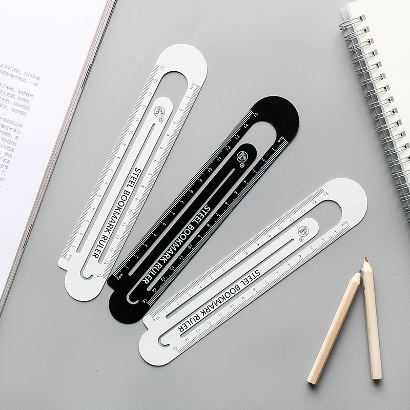1pc 12cm15cm High Quality Steel Ruler  Metal Ruler Multi-function Metal Bookmarks School Supplies Cute Drawing Supplies