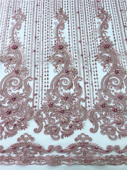 African Tulle Lace Fabric New 2019 High Quality Guipure Cord Lace beads stones Bridal Nigerian Lace Fabric For Wedding Dress red