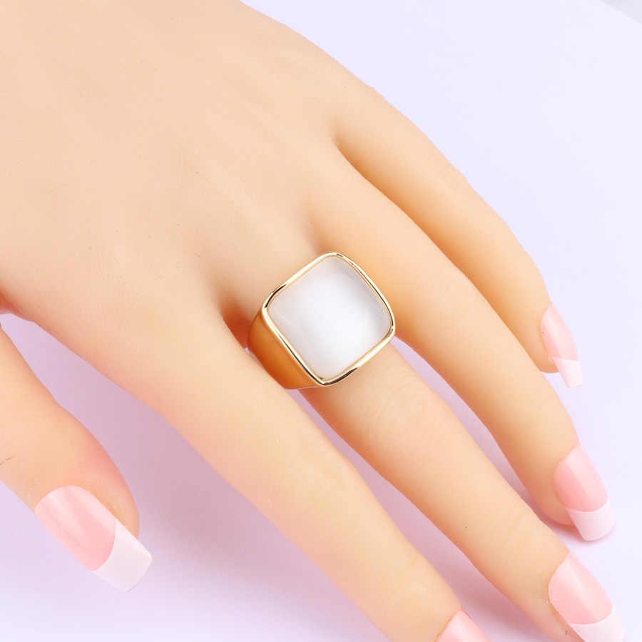 Kinel Luxury Punk สีขาวโอปอลแหวนแฟชั่นดูไบ Gold เครื่องประดับงานแต่งงานแหวนคริสต์มาสของขวัญ 2018 ใหม่