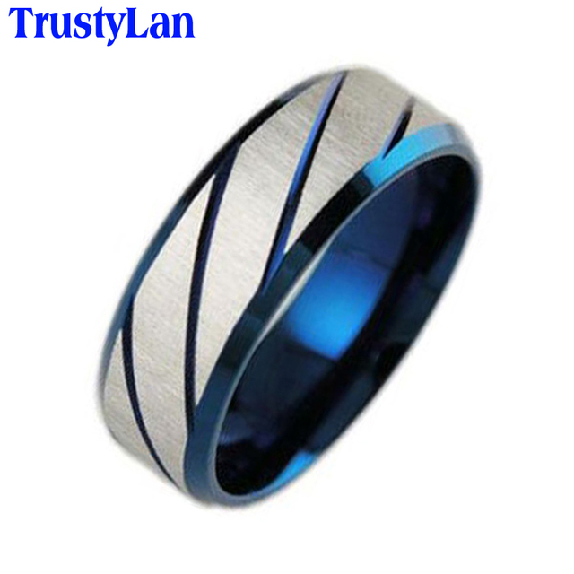 TrustyLan Blue Stainless Steel Male Ring Fashion Vintage Anniversary ...