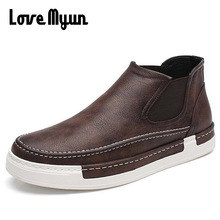New mens fashion Loafers Breathable shoes high top slip on casual flat shoes soft leather sneakers zapatillas deportivas WB-53