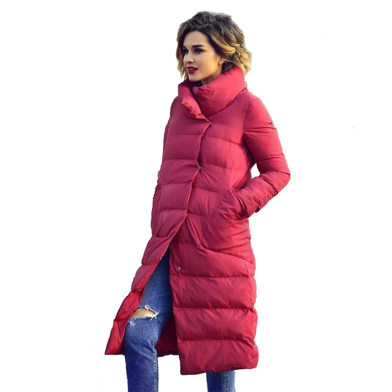2018 Fashion Long Jackets for Winter for Women Cotton Padded Solid Elegant Winter Warm Bubble   Parkas   Female Coat Top Quality