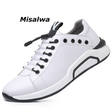 Misalwa Cowhide Leather Mens Elevator Shoes Fashion Black Sneakers Korean Stylish Warm Leisure Flats Thick Sole Moccasins Basic