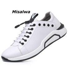 Misalwa Koeienhuid Lederen Heren Lift Schoenen Mode Zwarte Sneakers Koreaanse Stijlvolle Warm Leisure Flats Dikke Zool Mocassins Basic