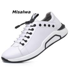 Misalwa עור פרה עור גברים של מעלית נעלי אופנה שחור סניקרס קוריאני אופנתי חם פנאי דירות עבה בלעדי מוקסינים בסיסי