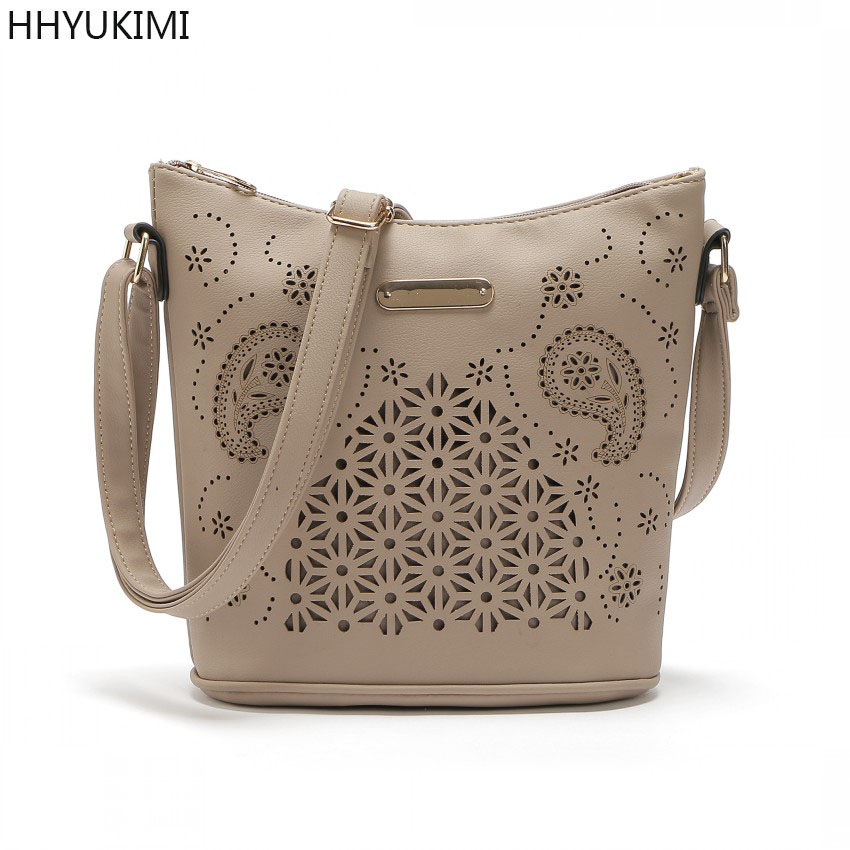 HHYUKIMI New Women Fashion Crossbody Shoulder Bag PU Leather Hollow Out Handbag Vintage Messenger Bags Party Evening Clutch Bag