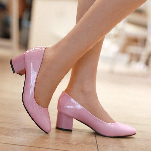 mujer Nude rojos color de zapatos novia charol zapatos 2015 tacones rosa de zapatos fondos medianos atw5FFzxq
