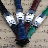 New 20MM Black Green Brown Blue Genuine Leather Watchband Watch Strap For Role Daytona Submariner Gmt