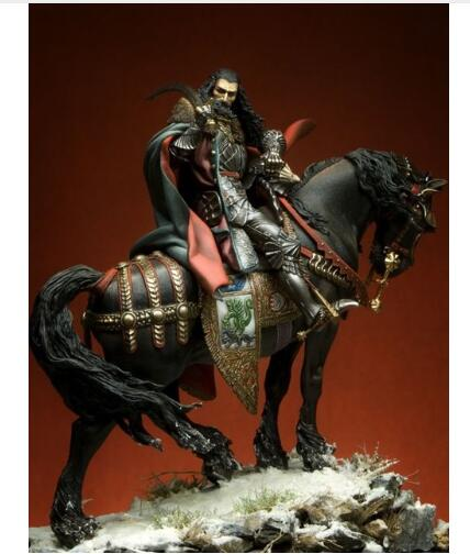 1 24 75MM ANCIENT knight with HORSE 75MM Resin figure Model kits Miniature gk Unassembly Unpainted