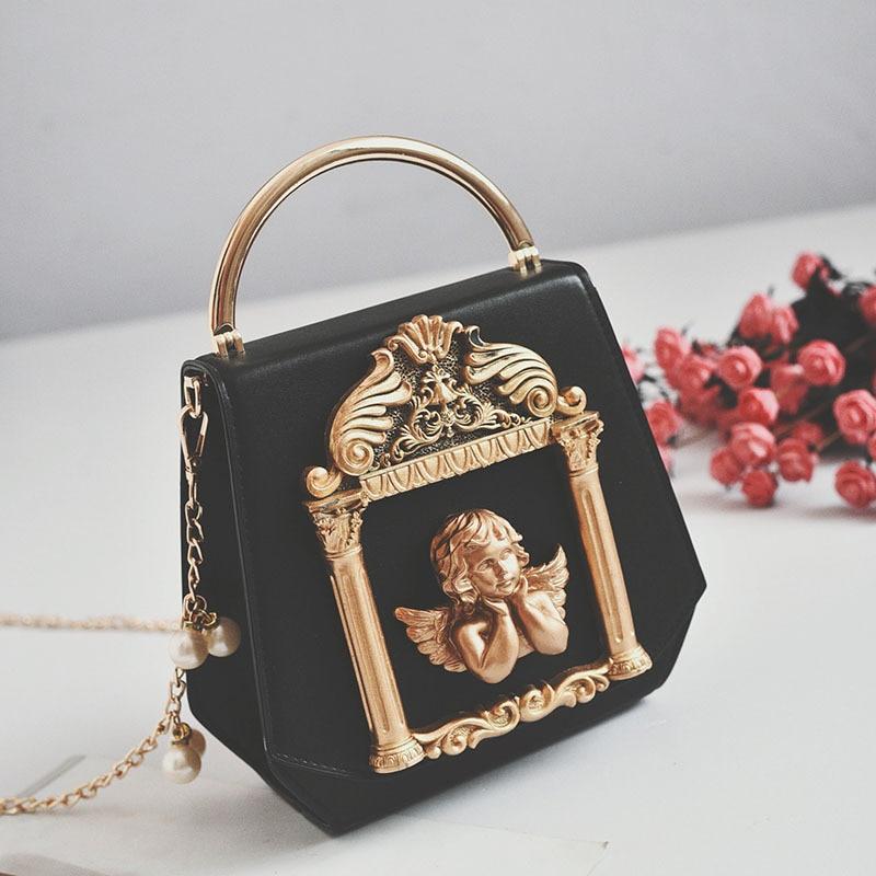 Rétro ange Style sac à main de luxe femmes chaîne épaule Messenger sac en relief cadre photo fourre-tout perle chaîne sac à main