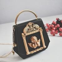 Retro Angel Style Handbag Luxury Women Chain Shoulder Messenger Bag Embossed Picture Frame Tote Pearl Chain Handbag