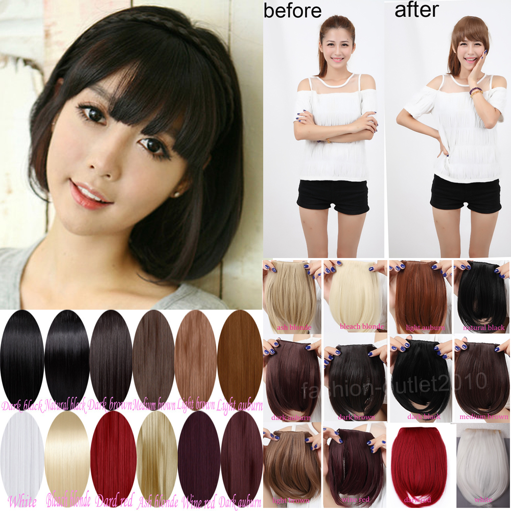 Sweet short fringe bangs front clip in hair extensions clip on sweet short fringe bangs front clip in hair extensions clip on bangs hair extension hairpiece black blonde brown red on aliexpress alibaba group pmusecretfo Image collections
