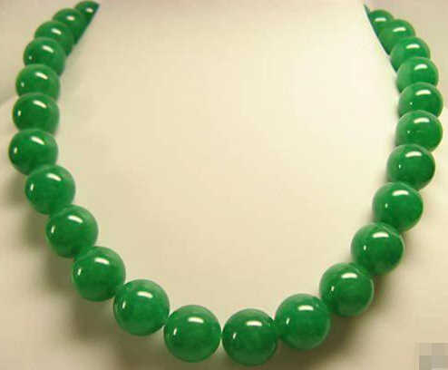 "free shipping ~$wholesale_jewelry_wig$ BEAUTIFUL NATURAL GREEN 10MM ROUND BEADS NECKLACES 18"" INCHES STRAND"