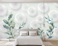 Beibehang Modern minimalist wallpaper mural 3D stereo ball plant leaves TV background walls living room bedroom 3d wallpaper beibehang modern minimalist 3d abstract geometric wallpaper barber shop scandinavian style bedroom living room tv background