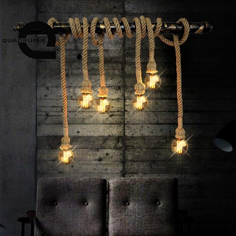 Quadruple Vintage Chanvre Corde Pendentif Lumière Personnalité Loft E27 Edison Ampoule Pendentif Lampe DIY Salon Cofe Bar Éclairage Décor
