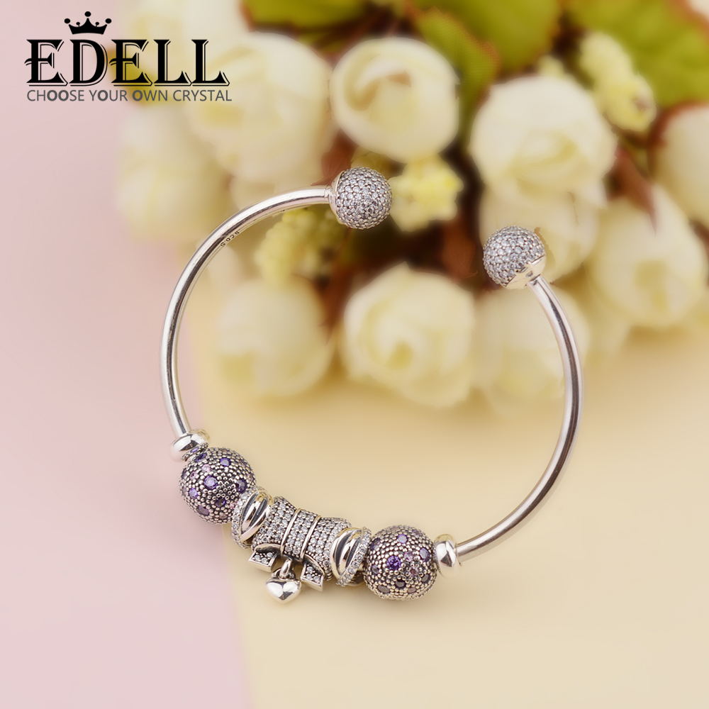 EDELL Genuine 100% 925 Sterling Silver bangle Fashion crystal For Set Women Bracele Original Jewelry charm birthday Gift edell 100% 925 sterling silver new charm cute cow beaded exquisite lucky women gift original jewelry factory direct sales 797609