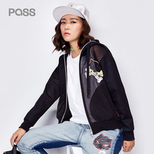 Pass Summer Woman Fashion Transparent Coat White Black Bomber Jacket Long Sleeve Zipper Streetwear Loose Casual Basic Jacket