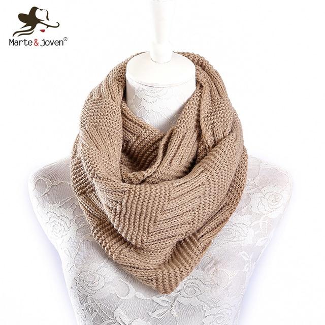 Marte и Joven Модные трикотажные имитация кашемира кольцо шарф для Для женщин Мягкий акрил зима бесконечность шарфы женские теплые Снуд шарф