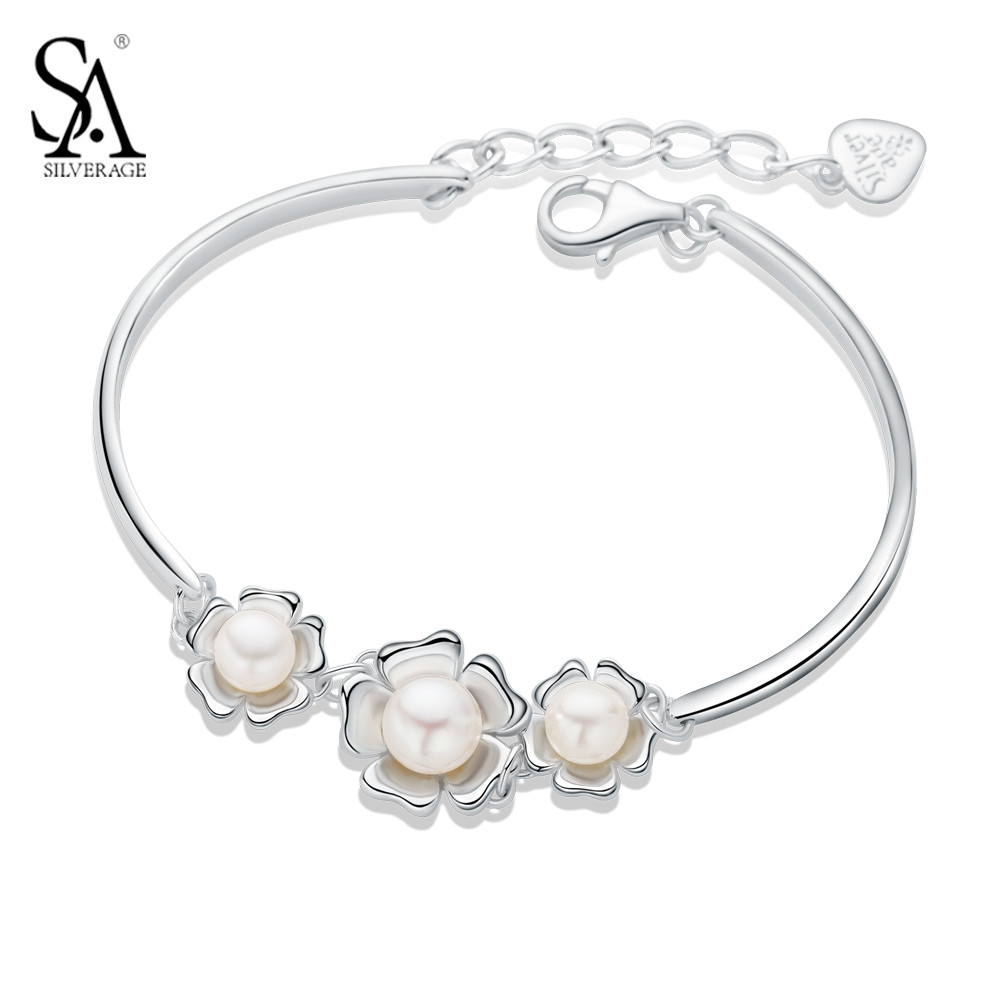 SA SILVERAGE 925 Sterling Silver Flower With Freshwater Cultured Pearl Link Chain Bracelets Bangles Jewelry For Women Gift audio technica at lp120 usbhc black проигрыватель виниловых дисков
