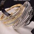 Nueva Llegada de Los Pendientes Redondos Cristalinos Atractivos Gold Filled Band Hoop Pendientes DEL OÍDO Mujer del Regalo de Boda