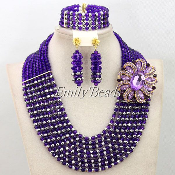 Costume African Crystal Beads Jewelry Set More Colors Nigerian African Wedding Bridal Beads Jewelry Set Wholesale AMJ542