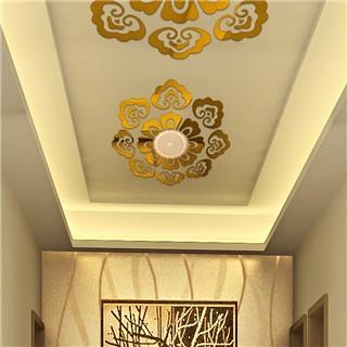 Mirror Sticker Ceiling Decoration Wall Sticker Home Decor Accessories 3d Diy Wall Art Gold/silver Flower Wall Decals Room Decor 7