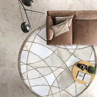 Round shaped natural cowhide patchwork rug in gray color ,genuine fur carpet for bedroom decoration office chair mat