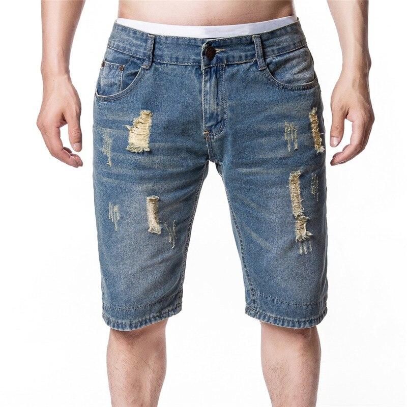 093296476af2a MORUANCLE Moda hombre Ripped Short Jeans verano Denim Shorts para hombre  lavado Torn Bermudas con agujeros de tamaño M XXL en Pantalones vaqueros de  La ropa ...
