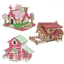 3D Puzzles Wooden HOUSE Kids Educational Learning Toys Adult DIY Color Jigsaw Brain Teaser Children Games Gift A2 Wooden Puzzles цены онлайн