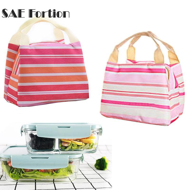 Portable Insulated Lunch Bag Thermal Cooler Stripe Tote Bags Picnic Lunch Food Storage Bag For Women Girls Ladies Kids YYR2205