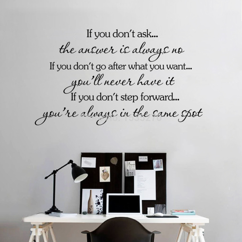 inspirational quotes wall stickers removable decal home decor if you don 39 t go after you want. Black Bedroom Furniture Sets. Home Design Ideas