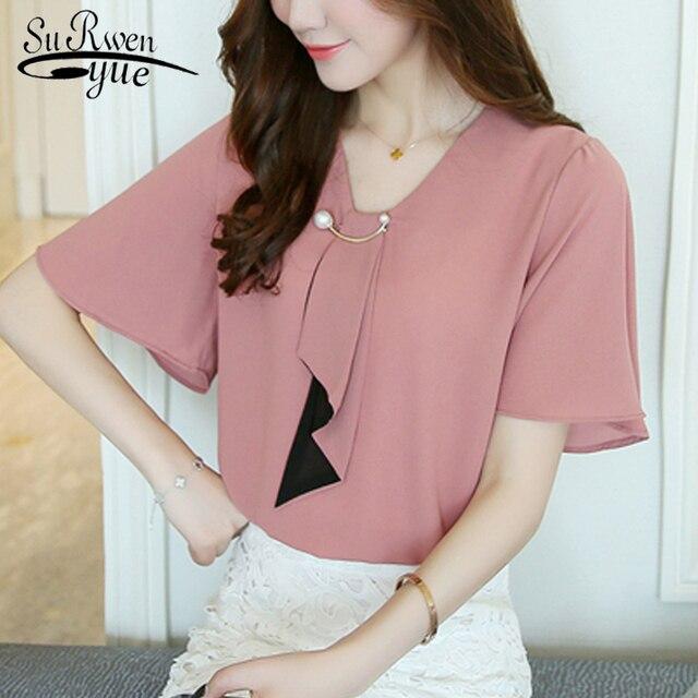 bc7a009023e New chiffon women blouse shirts fashion 2018 short sleeve plus size  feminine tops v-neck