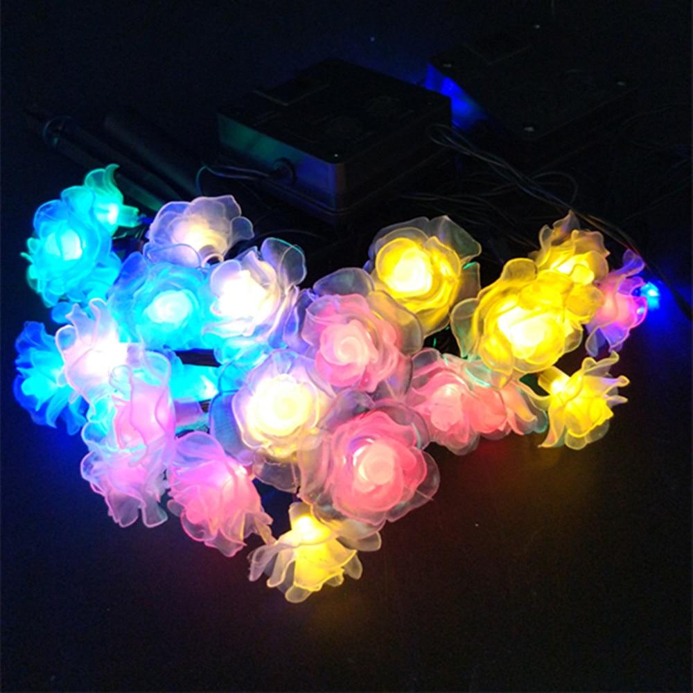 Yiyang открытый солнечный светильник Романтические свадебные розы фея света многоцветный праздник украшение сада Водонепроницаемый строки ... ...