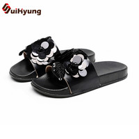 Suihyung Fashion Design Women Summer Slippers Flat Shoes Sequined Beads Flowers Beach Flip Flops Female Sandals