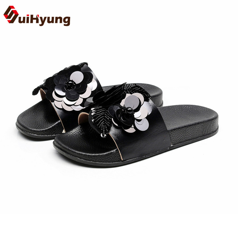 Suihyung Fashion Design Women Summer Slippers Flat Shoes Sequined Beads Flowers Beach Flip Flops Female Sandals Outside Slides women slippers summer bling beach shoes sequined rivet fashion slippers female light flat platform non slip ladies shoes ald931